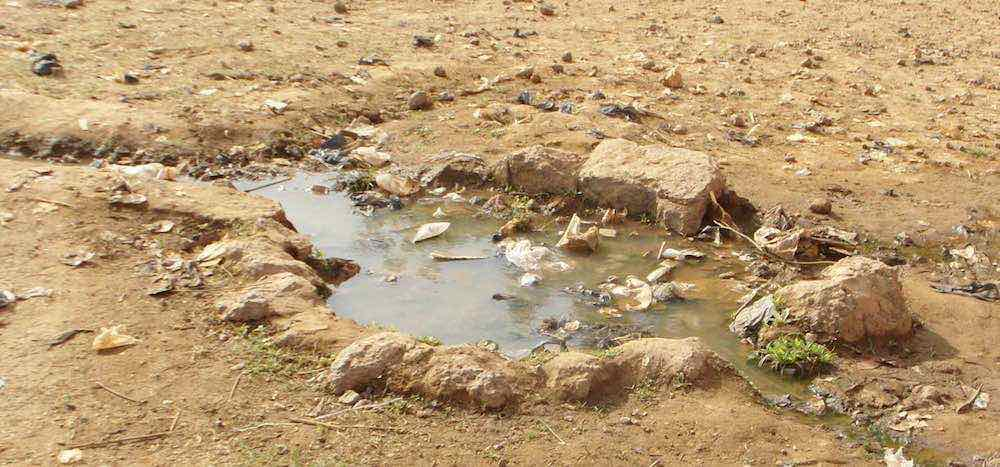 Sump with stagnant water source of disease and contamination of the borehole